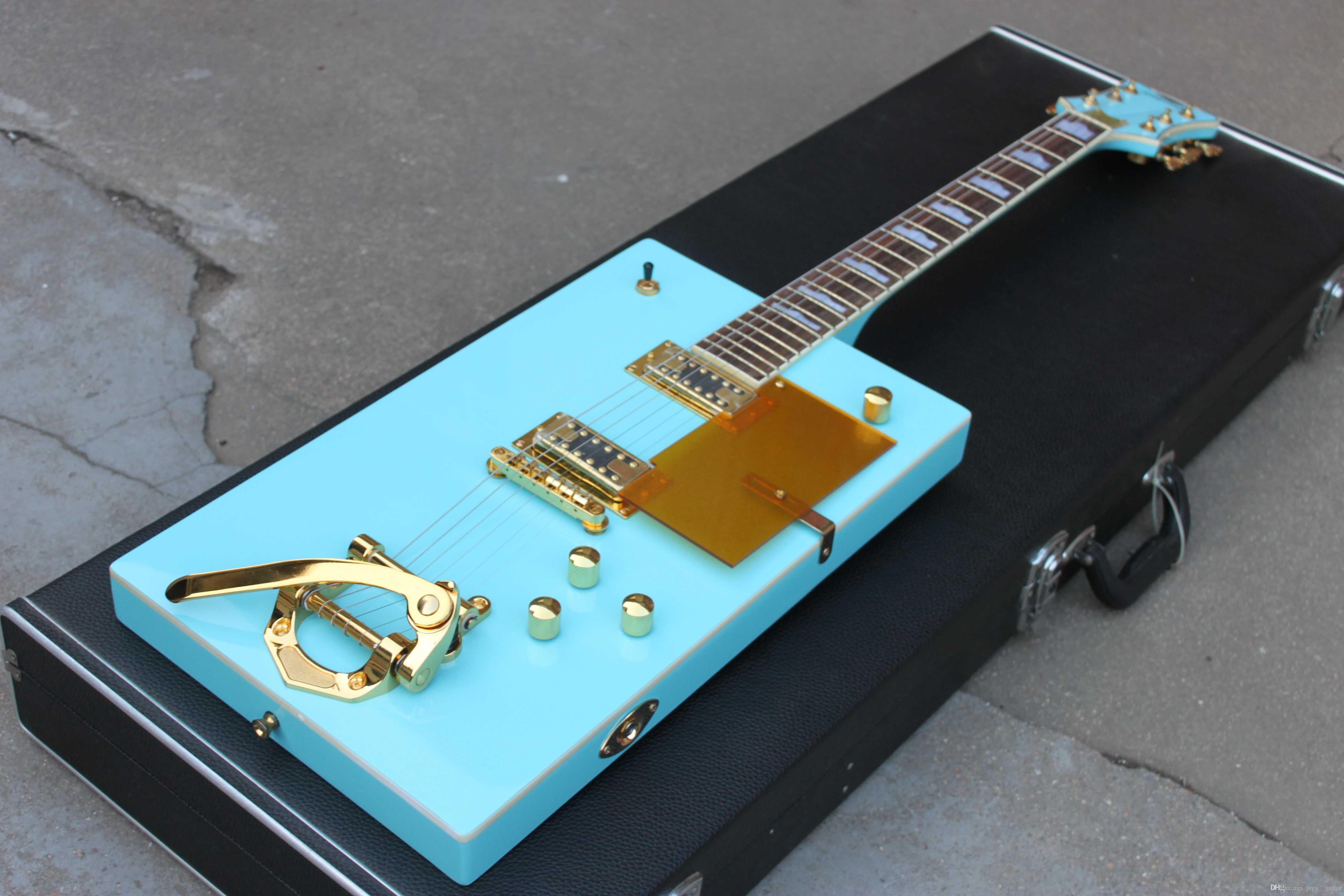 Vintage Rare G5810 Bo Diddley Light Green Suqare Electric Guitar Sparkle  Gold Body Binding Bigs Tremolo Talipiece Gold Pickguard