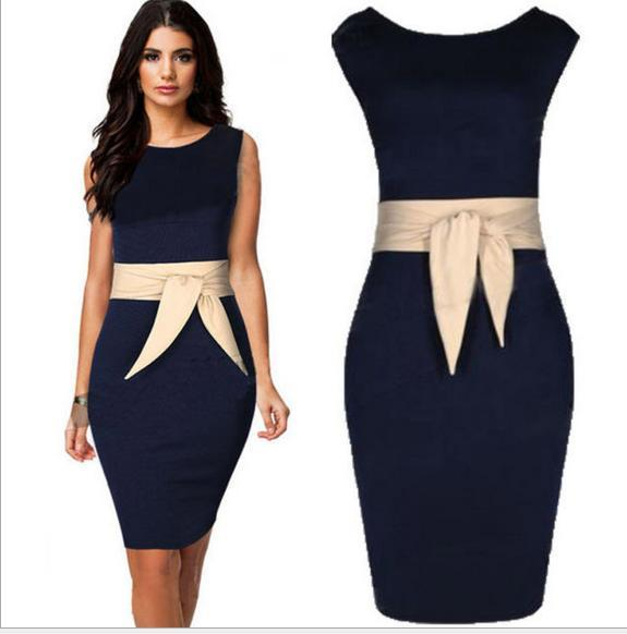 Plus Size Formal Dresses Navy Dress With Champagne Belt Sleeveless Women Work Knee Length Ladies S To XXL Working