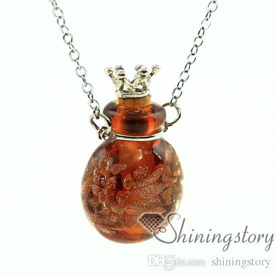 Glitter ronda difusor colgante joyería del perfume al por mayor collares de aromaterapia miniatura botella encantos aceite difusor collar de la joyería difu