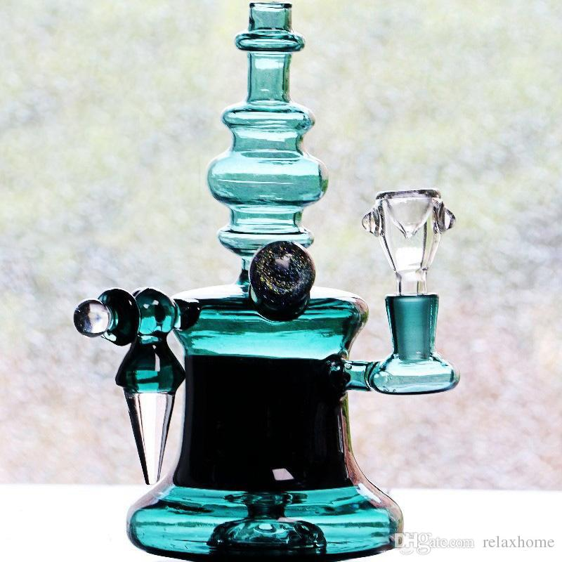 2018 New Arrival Chinese Thick Cheap Glass Bongs Recycler Oil Rigs Hunter Green Smoking bong Hookahs Perc Perculator