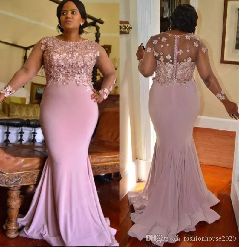7f3fa99ce7f9 Acquista 2018 Dusty Pink Mermaid Abiti Da Damigella D onore Jewel Neck 3D  Flowers Beading Maniche Lunghe Sheer Back Wedding Guest Dress Maid Of Honor  Abiti ...