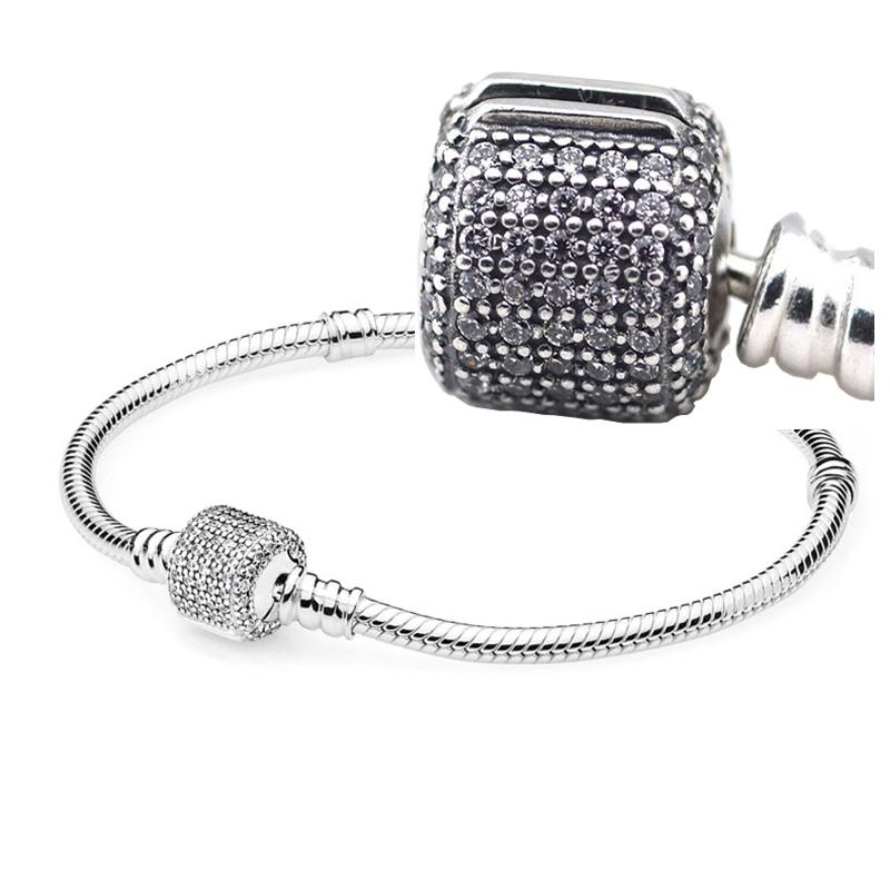 c9cf8cfe2 Moments Silver Signature Barrel Clasp with Clear CZ 100% 925 Sterling Silver  Beads Fit Pandora Charms Bracelet DIY Brand Fashion Jewelry