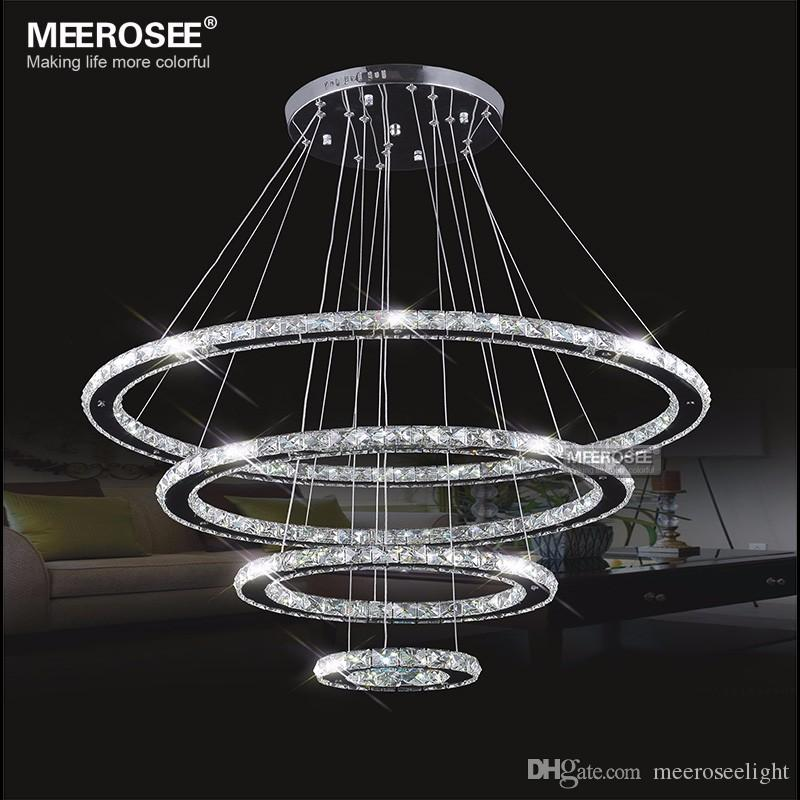 Mirror Stainless Steel Crystal Diamond Lighting Fixtures 4 Rings Led Pendant  Lights Cristal Dinning Decorative Hanging Lamp Lamp Hanging Designer Pendant  ...