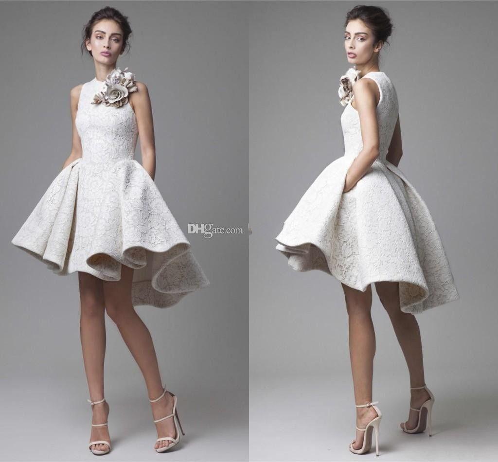 2016 Spring White Lace Short Evening Dresses Arabic Dubai Hand Made ...