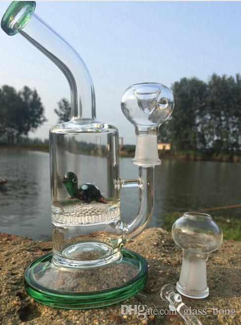 İki Fonksiyonlu Cam Su Boruları Sevimli Hayvan Komik Yeşil Kaplumbağa Renkli Bong Kartal Balık Kurbağa Petek Petrol Kuleleri Bongs Dab Petrol Teçhizatı Başlığı