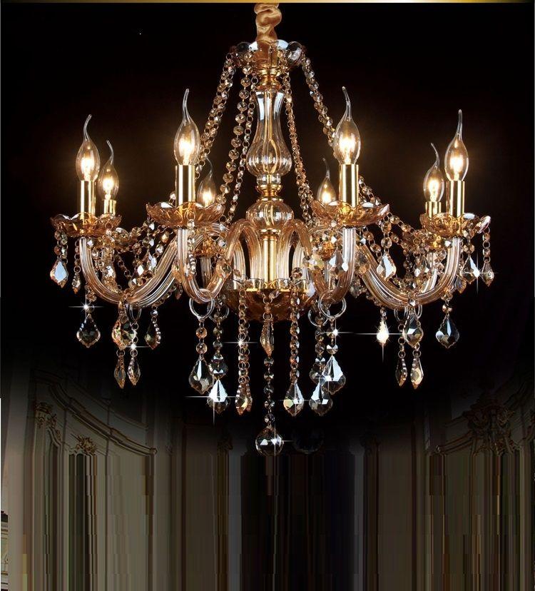 Moderne moderne Kristallleuchter Kristalllicht moderne kurze Kunst Kerze Beleuchtung Lampen Kronleuchter Beleuchtung Champagner Farbe Modern