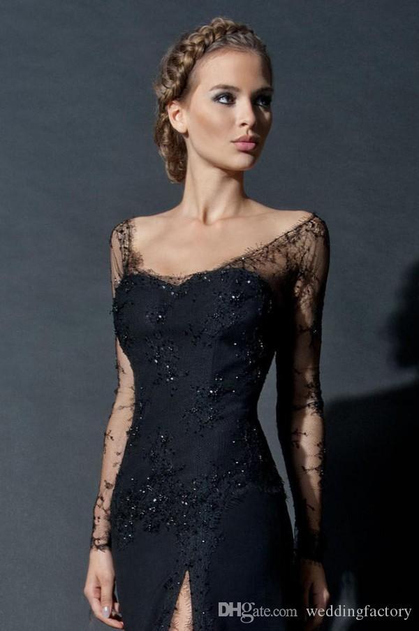 Robe de soirée en dentelle noire robes robes gaine gaine scoop encolure long illusion manches perles robe formelle haute gaine