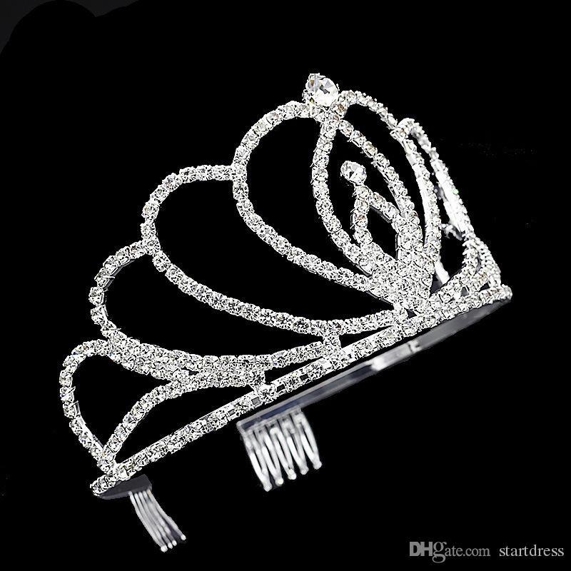 Кристалл Люкс Тиара Вечеринка Pageant Роскошные короны Посеребренная Свадебные Коронки Hairband Дешевые Заколки Для Волос Свадебные Аксессуары Для Волос Диадемы