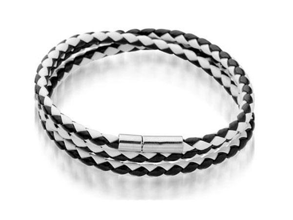 Brazaletes de cuero para hombre Pulseras Negro / Marrón Malla Magnética Broche de acero inoxidable Doble envoltura de pulsera Hermosa pulsera de titanio para hombres
