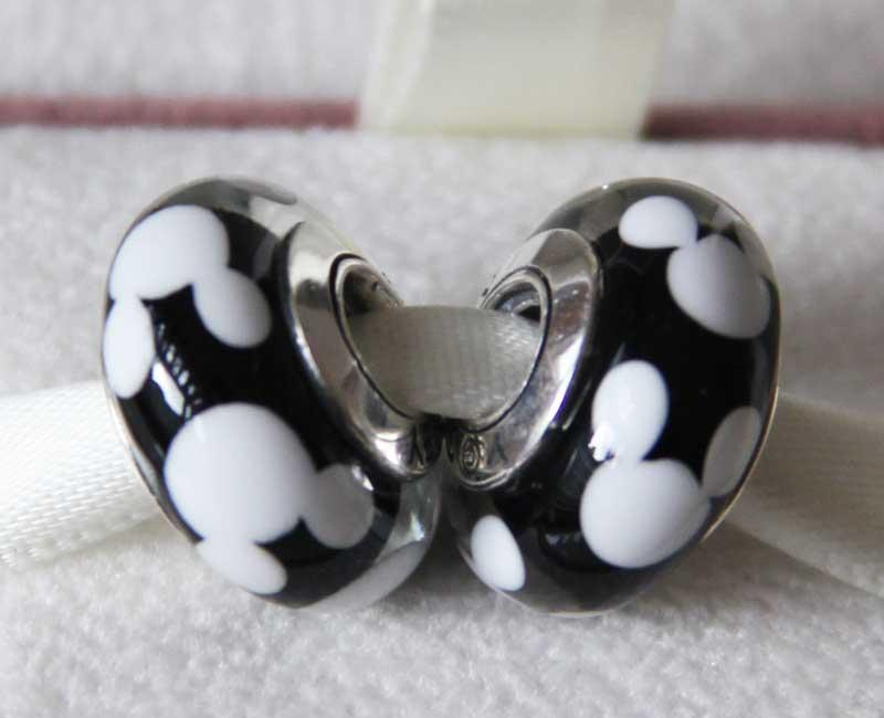 S925 Sterling Silver Threaded Screw Classic Mickey Murano Glass Beads Fit Pandora Charm Jewelry Bracelets & Necklaces