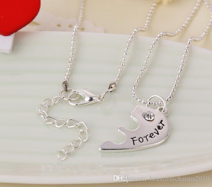 الجملة / BFF القلب المكسور 3 أجزاء قلادة أفضل أصدقاء للأبد قلادة قلادة المجوهرات