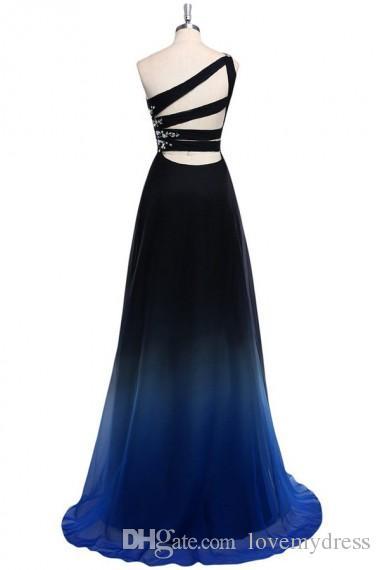 2021 Ombre Gradiant 컬러 이브닝 드레스 한 숄더 엠파이어 허리 시폰 블랙 로얄 블루 디자이너 긴 저렴한 Prom 공식 미인 드레스