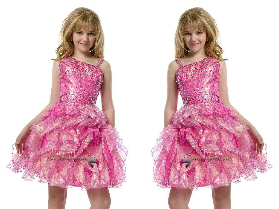 629cf31956fc 2015 Sequins Pre Teen Short Full Beading Pink Girls Pageant Dresses ...