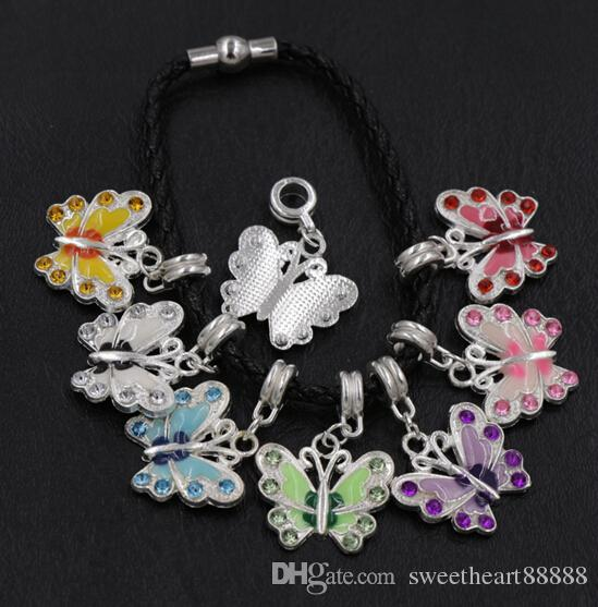 Chapado en plata Esmalte de la mariposa del Rhinestone del encanto Beads / Gran agujero del grano europeo Fit Bracelets 34X22mm B1559