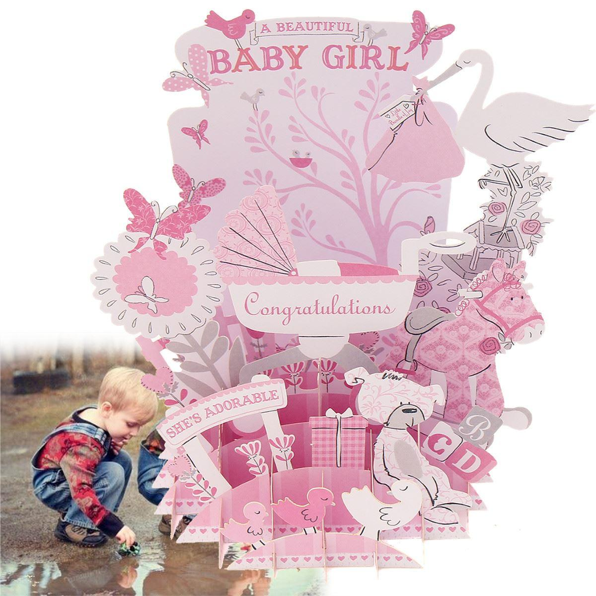 Wholesale Pink Baby 3d Pop Up Greeting Card Postcard Baby Shower Diy