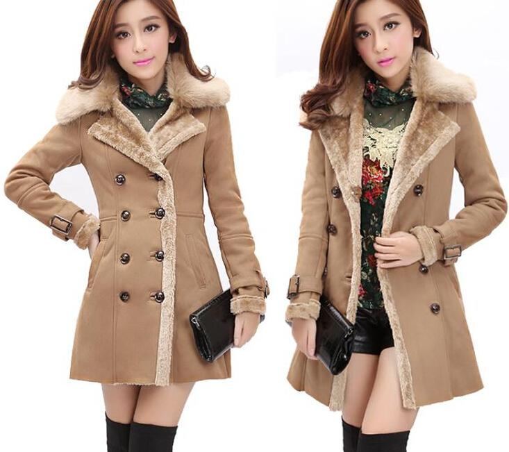 Women Winter Wool Jacket Coats 2015 New Fashion Women Faux Fur Winter Coats Long Lapel Neck Plus Size Thick Fur Coats for Women