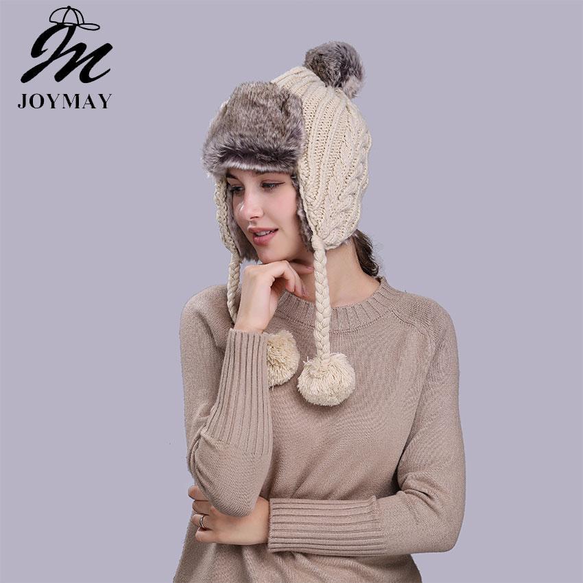 7020d73a5dc Wholesale- Joymay Winter Hat Bomber Hats For Men Women Thicken Balaclava  Cotton Fur Winter Earflap Keep Warm Caps Russian Skull Mask W235 Winter Hat  Hats ...