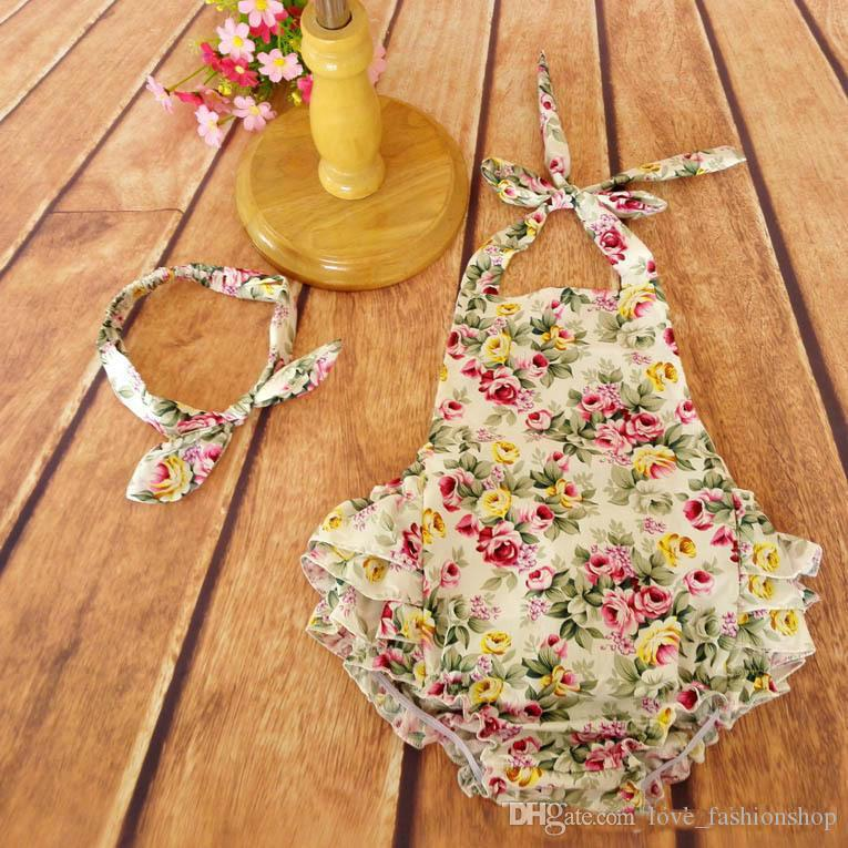 2019 baby Floral Romper Sets with Headbands roupas de bebe Flower printed backless ruffle Romper girls clothes JumpSuit jumper kids outfits