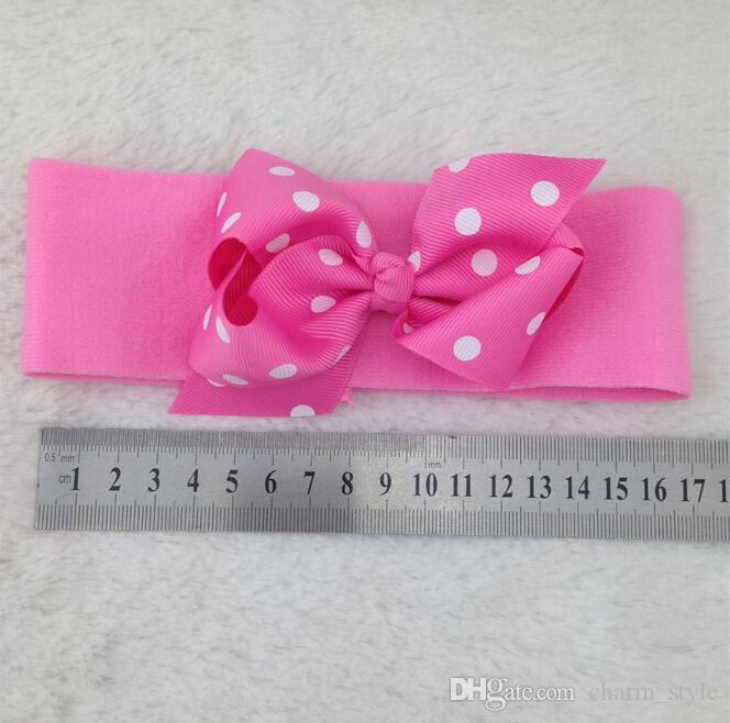 15% de rabais nouveau style 5cm bébé bandeau en nylon avec 4inch arc à cheveux à pois, filles arc bandeaux, bandeaux de bébé, bandeaux enfants,