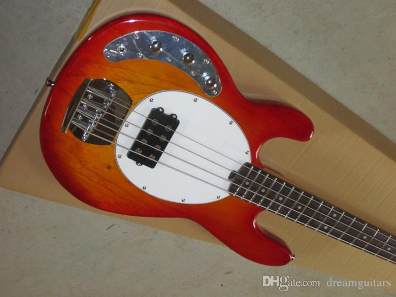 Left Handed High Quality Ernie Ball Sting Ray 4 String Music Man Cherry Burst Electric Bass Guitar