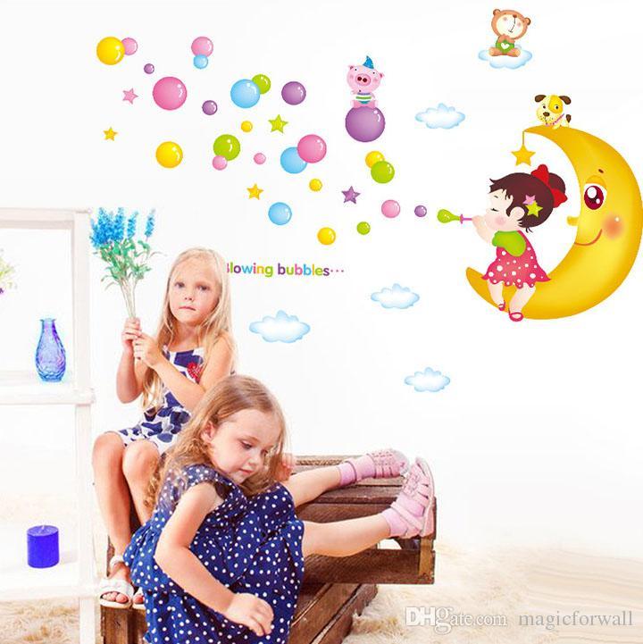 Blowing Bubbles Girl on the Moon Wall Art Mural Decor Sticker Cartoon Girl Moon Bear Wall Decal Applique Kids Room Nursery Wall Poster
