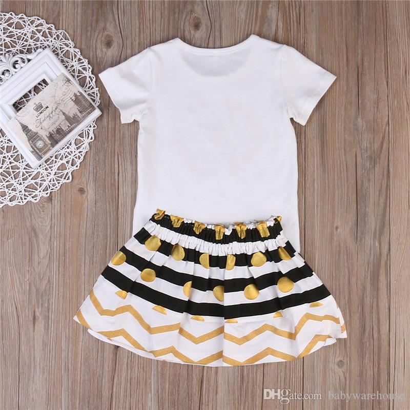 Toddler Clothes Baby Clothing Kids Girls Clothes Set Big Sister T-shirt Skirt Little Sister Romper Mini Skirt Matching Outfit Set Boutique