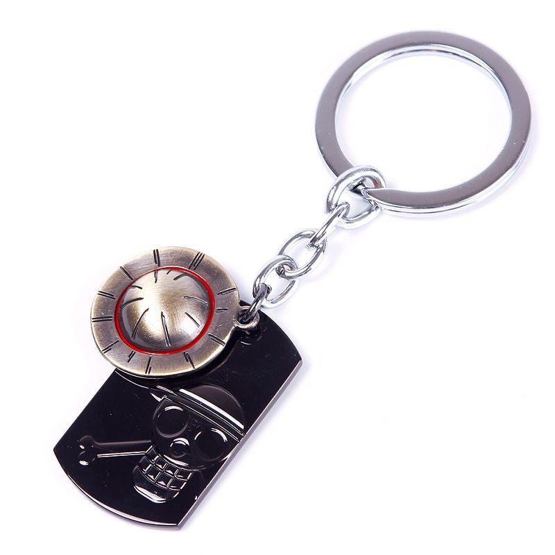 Anime One Piece Luffy Straw Hat Skull  Stainless Steel Keychain Key Ring YHZN