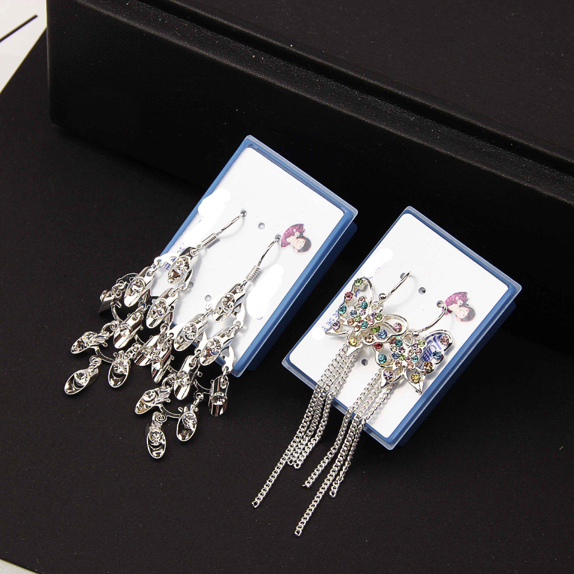 mix 30 style Anti allergy crystal Tassels Earrings Flower Butterfly Peacock love heart Shining Hanging long Earrings box packed