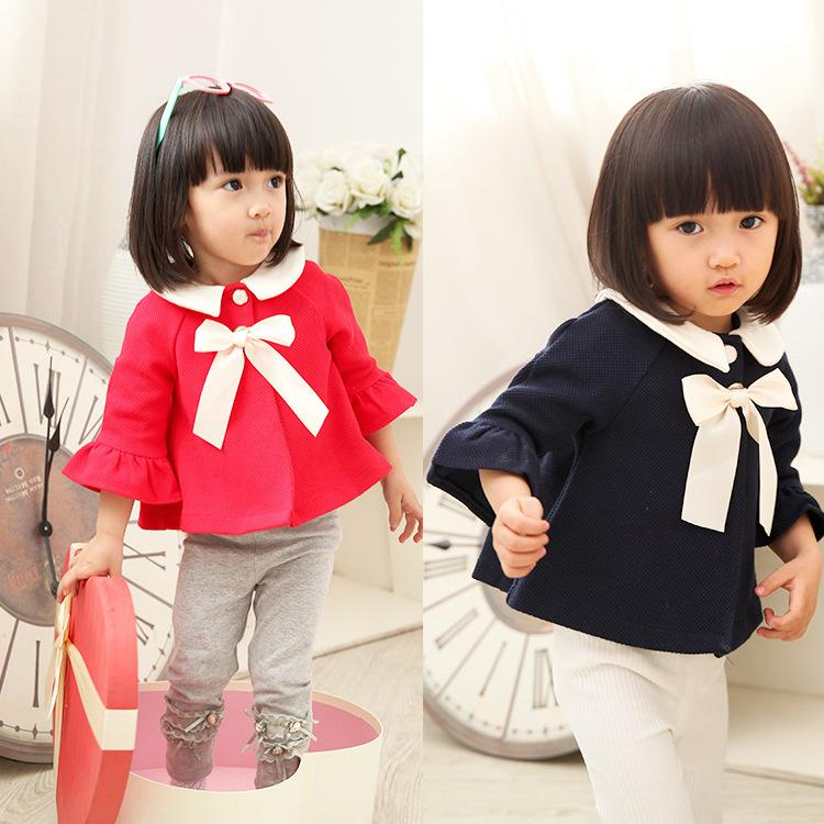 Toddler Baby Poncho Tops Korean Style Big Bowknot Baby Girls Outwear Cute Doll Brought Three