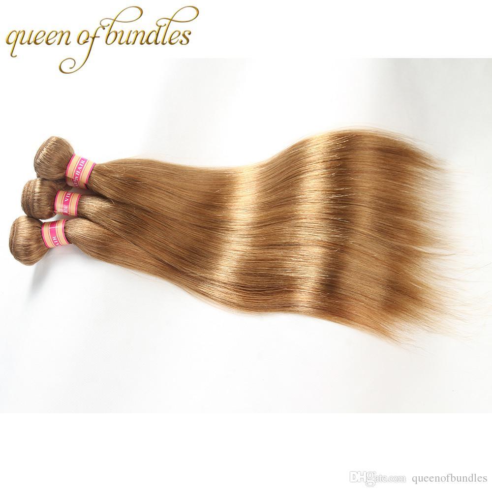 Peruvian Blonde Bundles Color 27 Honey Blonde Indian Cambodian Malaysian Hair Weave Bundles Straight Human Hair Weave Extensions 3 Bundles