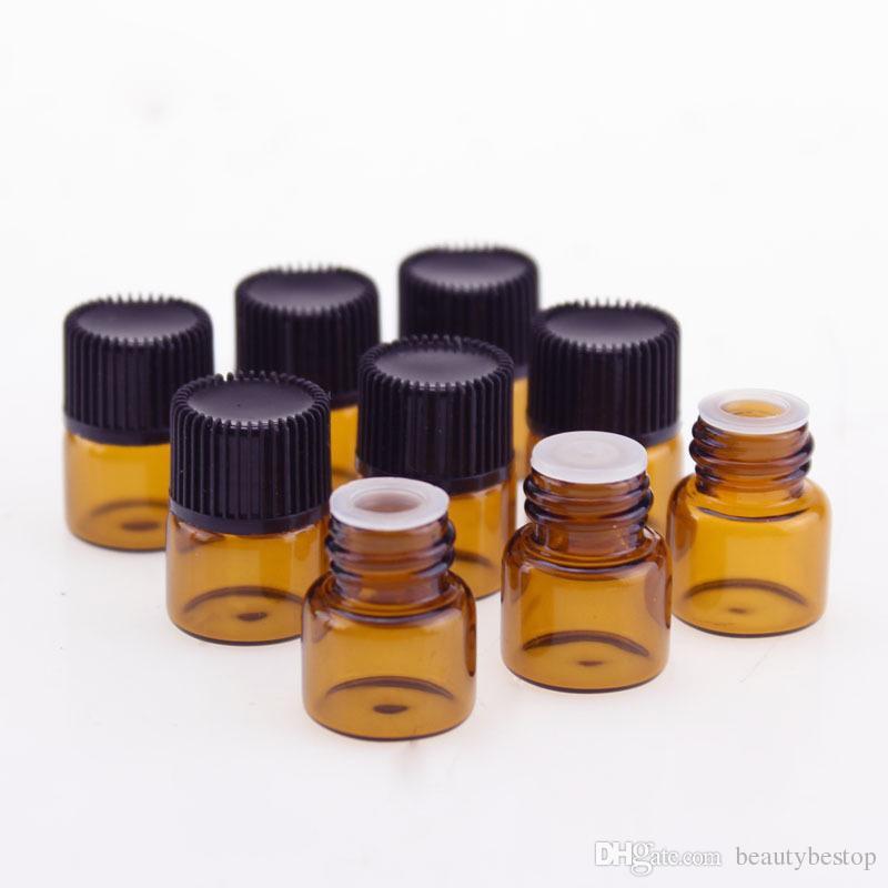 Bester Verkauf 1/4 Dram 1ml Braunglasfläschchen Probe Glasflaschen mit Mundstück Reduzierer Schwarze Kappe für ätherisches Öl