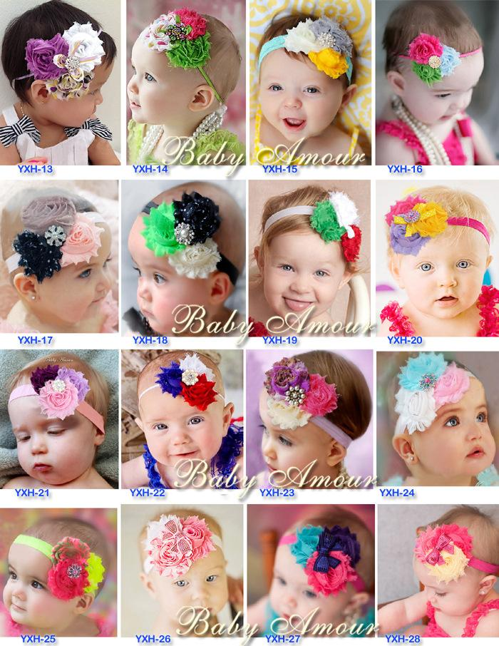 c854b09fb71 New 28 Design Baby Girl Headband Newborn Headbands Shabby Chic Flower  Hairband Christening Headband Baptism Hair Bows Girls Bow Headbands Sequins  Bowknot ...