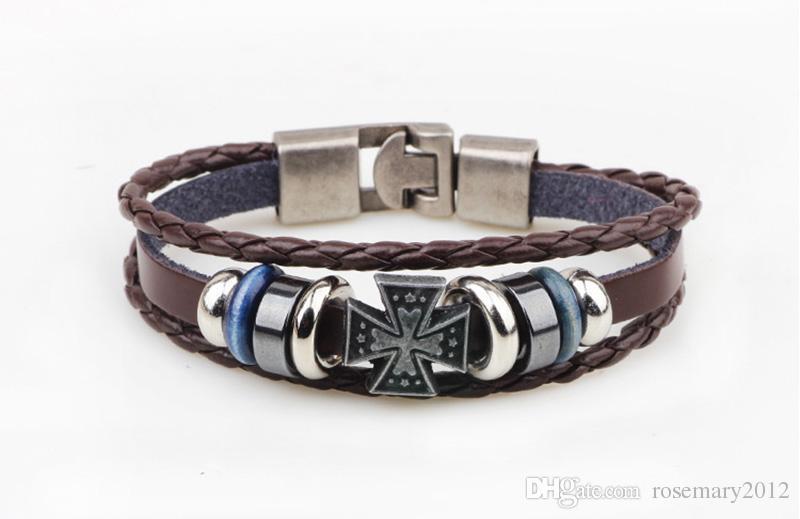 Ручной тканые ретро крест ручной браслеты простой плетеный кожаный браслет для женщин мужчины ручной цепи браслет дамы браслет ювелирных изделий оптом