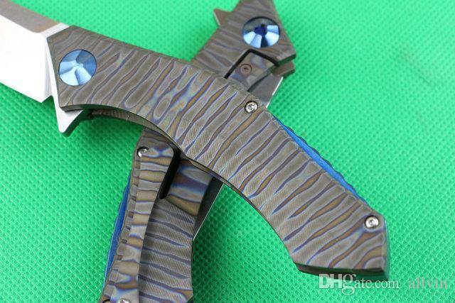 High End D2 steel Flipper folding blade knife 59-60HRC Stone wash finish blades titanium handle IKBS system frame lock
