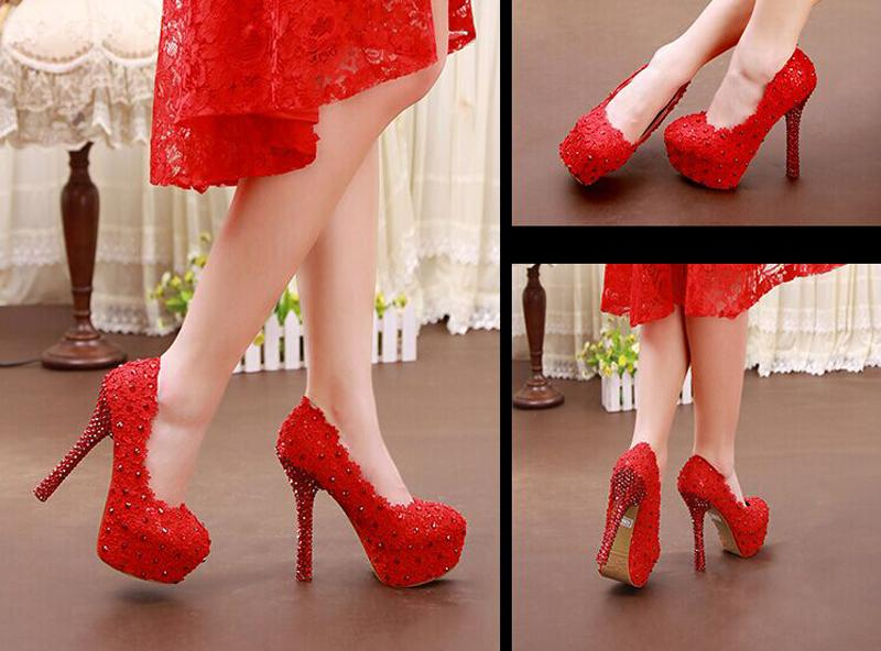 Sweet Pink and Red Lace Flower Bridal Wedding Dress Shoes Rhinestone High Heels Ladies Summer Shoes Pluse Size 34 - 43