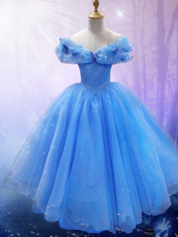 Blue Lace Cinderella Dresses For Girls Costume Flower Girl Dresses Wedding Dress Adult ...