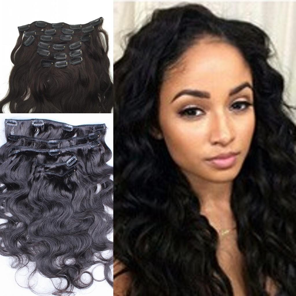 100 Virgin Brazilian Body Wave Clip In Human Hair Extensions Wavy