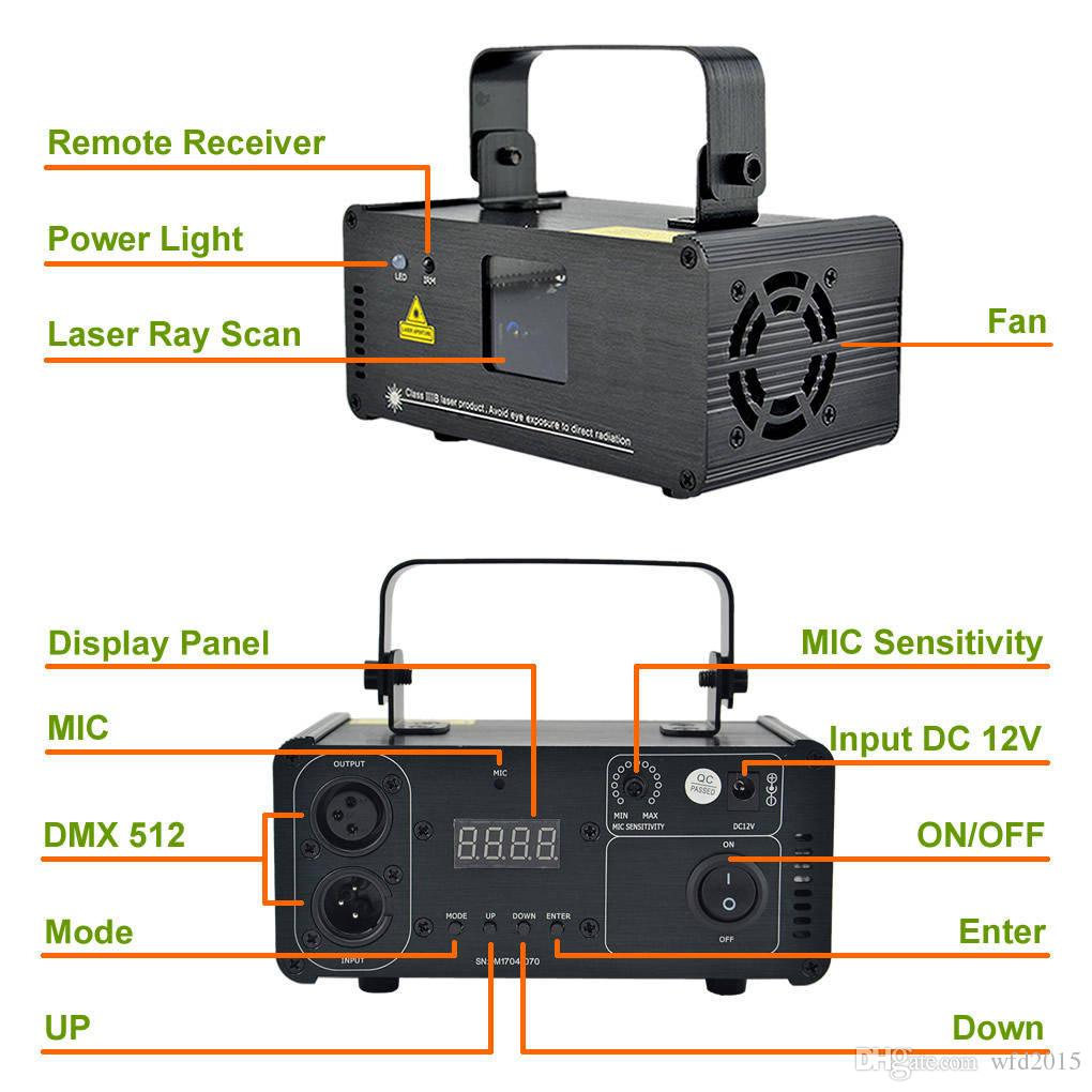 Mini 200mw Red Green Mixed Yellow DMX 512 Remote Sound Projector Stage Equipment Light DJ KTV Show Holiday Laser Lighting DM-RGY200