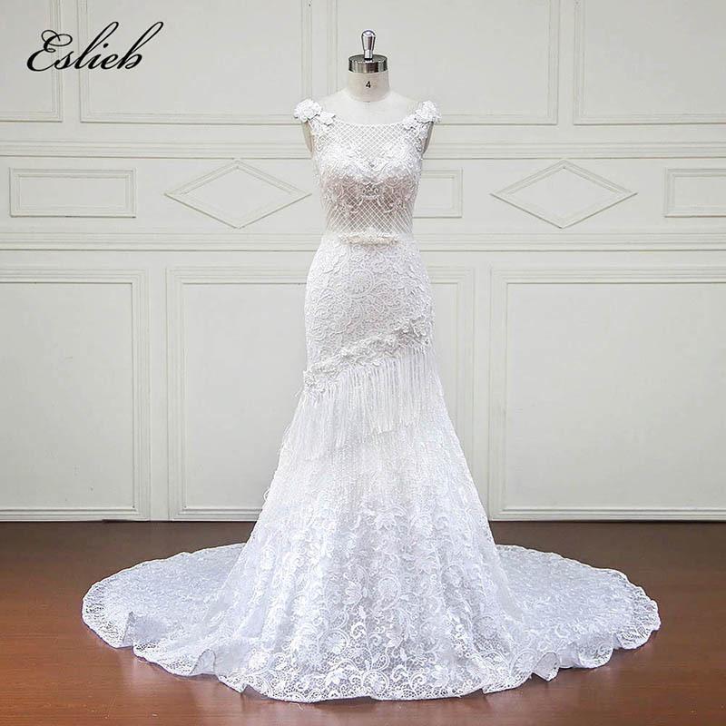 Eslieb Sweetheart Lace Mermaid Wedding Dresses Appliques 3d Flower ...