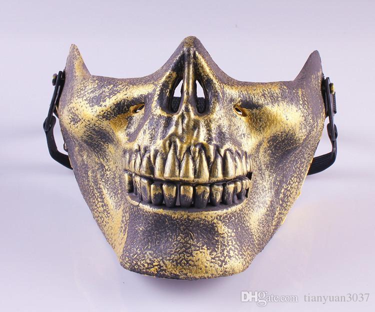 2015 подарок новый череп скелет страйкбол пейнтбол половина лица защитная маска для Хэллоуина маска Маски партии TY931