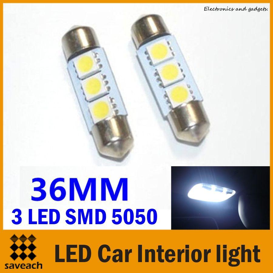 Led Auto Lights >> 36mm 3 Leds Smd 5050 White Light Led Car Interior Light Dome Festoon Reading Lights Lamp Bulb