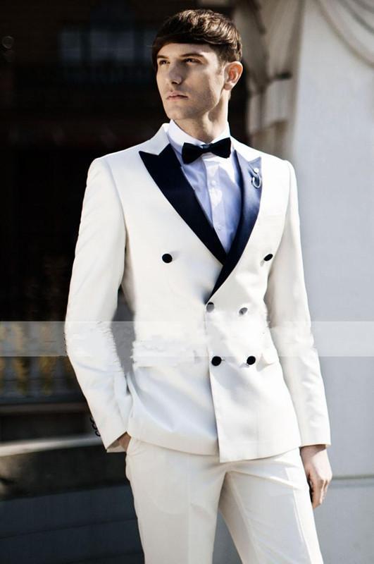 도매 - 핫 - 최신 고전적인 디자인 옷깃 신랑 드레스 남성 정장 흰색 드레스 파티 드레스 코트 + 바지