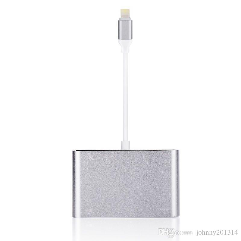 New 3 in 1 Dock to HDMI VGA AV Adapter Converter Adapter Cable for iPhone Audio Video Adapter Cable
