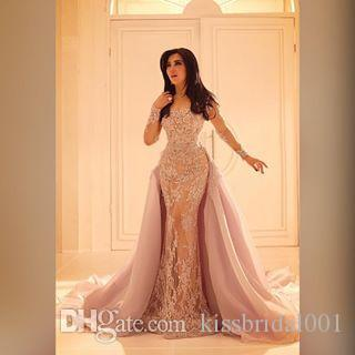 new Arabic Long Sleeves Formal Evening Dresses Mermaid Lace Long Sleeves Over Skirts Prom Dresses gown