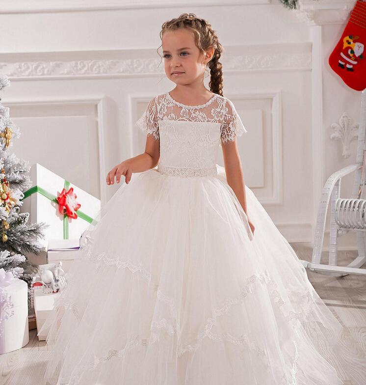 보석 짧은 소매 레이스 파란색 된 아기 소녀 생일 파티 크리스마스 공주 드레스 어린이 소녀 파티 드레스 꽃 파는 아가씨 드레스