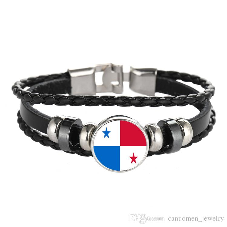 Leather Bracelet Snap Punk Germany Bahamas Panama Bosnia and Herzegovina Flag Glass Cabochon Charm Bracelets Women and Men Jewelry Wholesale
