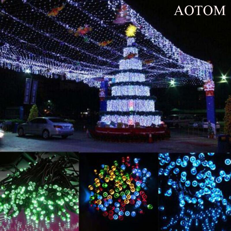 wholesale aotom 100 led rgb solar power string lights christmas lights lighting for outdoor waterproof lights party string lights bulb string lights from