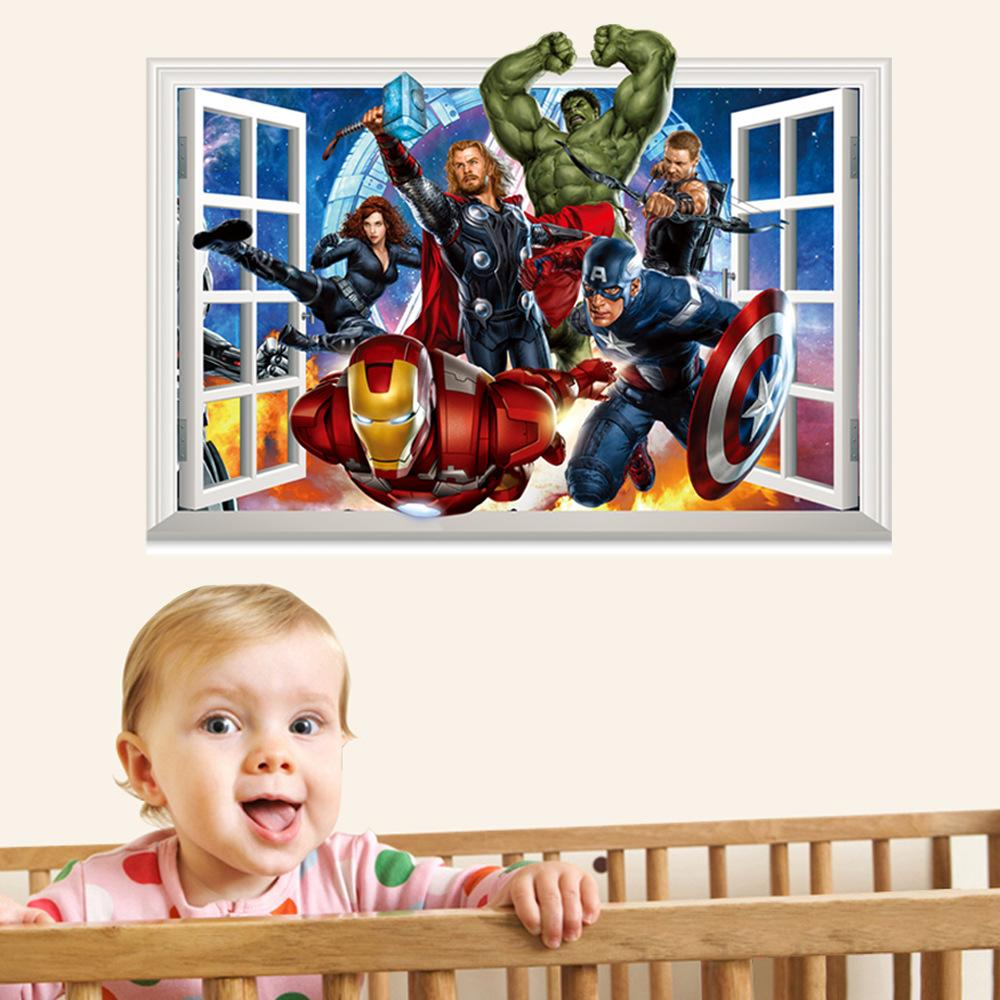 Window cartoon avengers super hero wall decal stickers diy art see larger image amipublicfo Choice Image