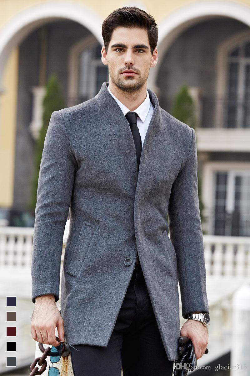 Shanghai Story para hombre abrigo largo abrigo de lana moda hebilla abrigo de lana para hombre de negocios de invierno