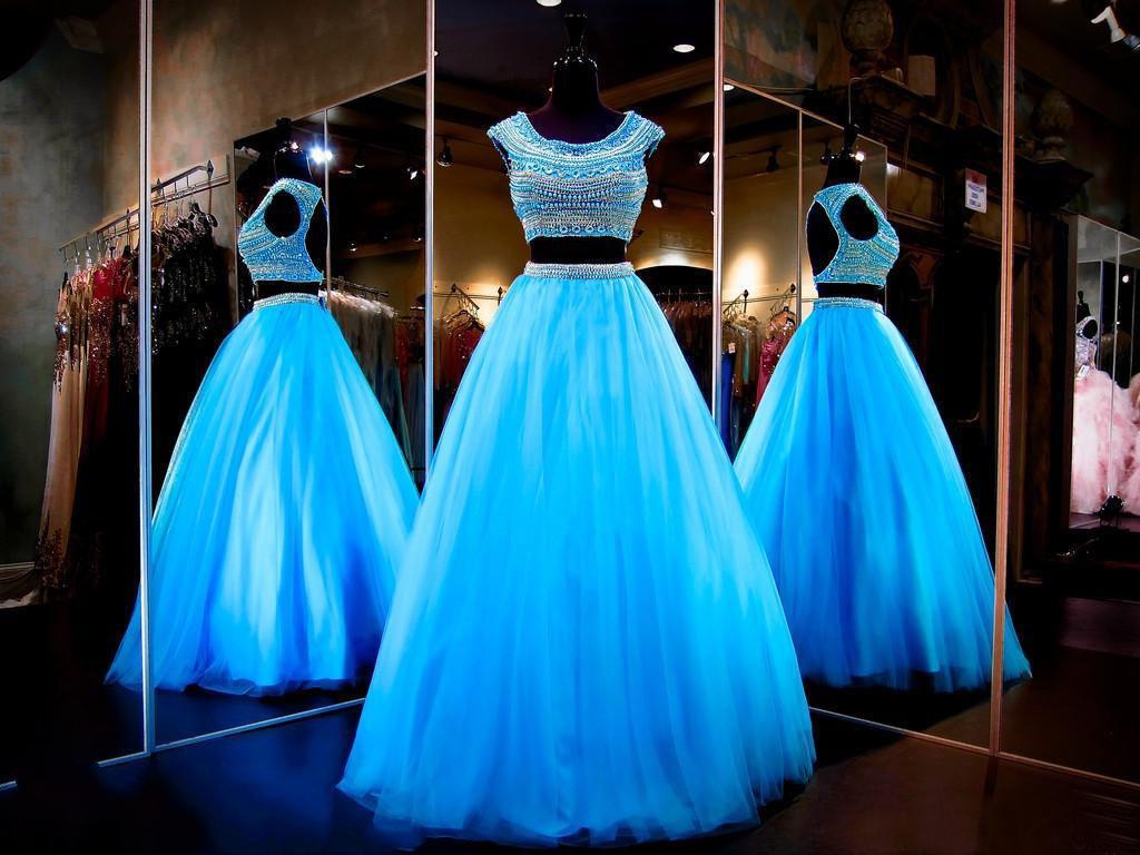 2 stuks Sexy Blue Prom Dresses Backless Cap Mouw Juweel Neck Beadings Tule A-lijn Vloer Lengte Feestjurken Custom Made